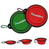 Portable Dog Bowl, Pawssimo 2 Pack Collapsible Silicone Dog, Cat Food & Water Bowl | Multi Use, Travel Cup BPA Free Dishwasher Safe | Compact Dish, Free Carabiner