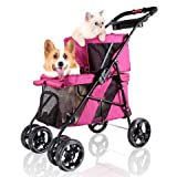 Double Pet Strollers for Dogs and Cats, 4 Wheel - Premium Dog Stroller for Twin or Multiple Small and Medium Pets - Puppy Stroller with Mesh Windows, Lightweight, Sturdy, Foldable - Perfect for Travel