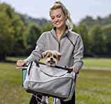 PetSafe Happy Ride Bicycle Basket for Dogs and Cats - Sport Style Light Nylon Material - Detachable Carrier with Shoulder Strap - Removable Sun Shield - Multiple Storage Pockets - Best for Small Pets