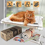 Selify Cat Window Perch - Free Fleece Blanket and Toy – Extra Large and Sturdy – Holds Two Large Cats – Easy to Assemble!