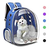 Henkelion Cat Backpack Carrier Bubble Carrying Bag, Small Dog Backpack Carrier for Small Medium Dogs Cats, Space Capsule Pet Carrier Dog Hiking Backpack, Airline Approved Travel Carrier - Blue