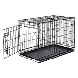 AmazonBasics Single-Door & Double-Door Folding Metal Dog or Pet Crate Kennel with Tray, 30 x 19 x 21 Inches