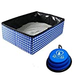 Pet Fit For Life Collapsible Portable Cat Litter Box - Foldable and Packable for Travel with Kitty - Includes Bonus Collapsible Water Bowl