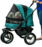 Pet Gear NO-ZIP Double Pet Stroller, Zipperless Entry, for Single or Multiple Dogs/Cats, Plush Pad + Weather Cover Included, Large Air Tires, Pine Green (PG8700NZPG)