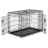 Amazon Basics Double-Door Folding Metal Dog or Pet Crate Kennel with Tray, 36 x 23 x 25 Inches