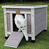 Cat House Outside, Weatherproof Rabbit Hutch Small, Wooden Small Pet House and Habitats (Grey)