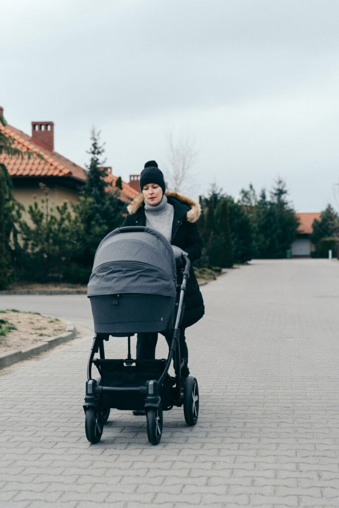 Woman pushing a cat in a double stroller