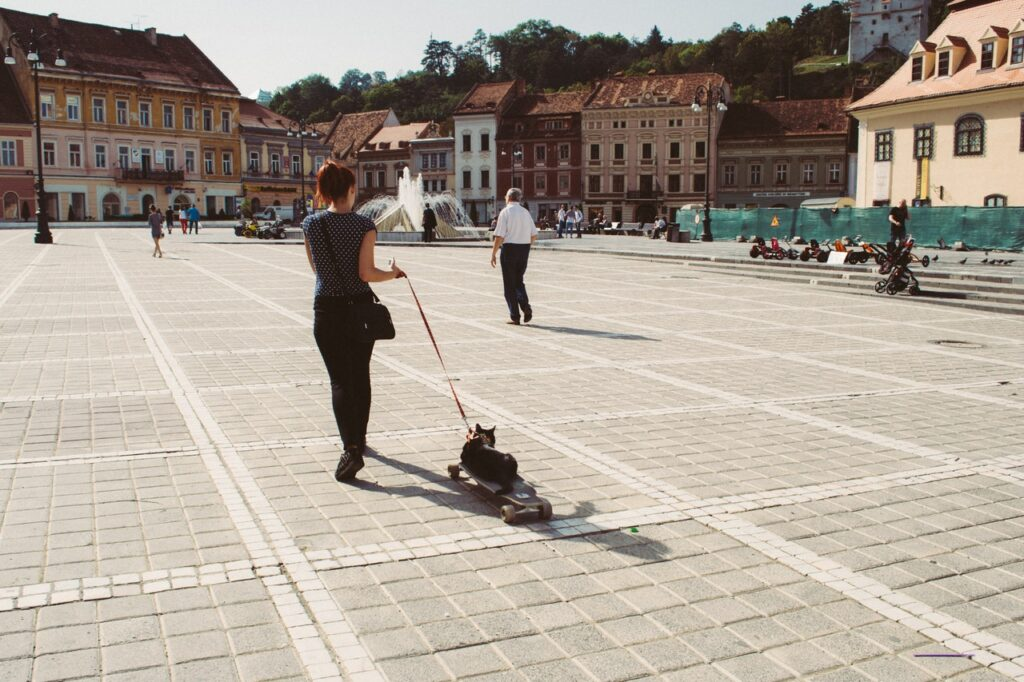 woman walking a cat through a town square
