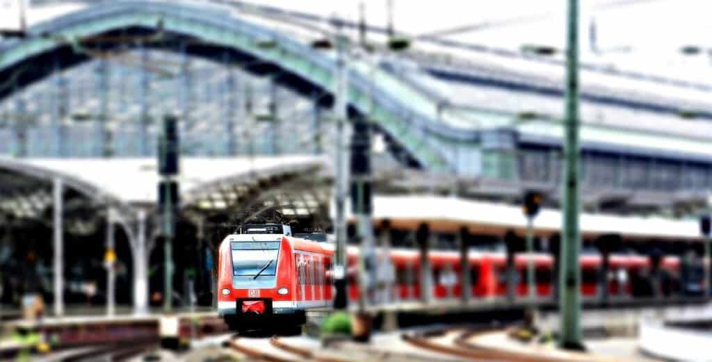 Train pulling out of cologne station